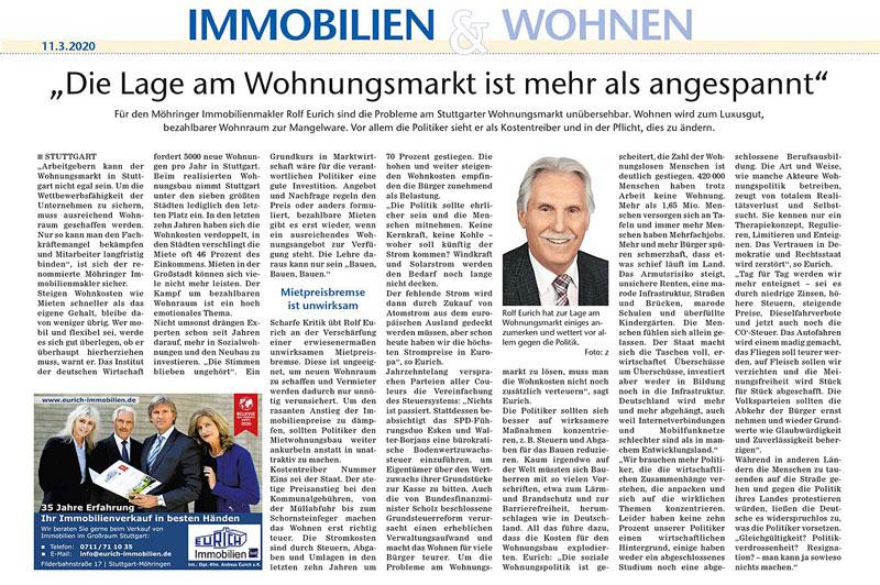 Eurich Immobilien Wohnungsnot Stuttgart Artikel